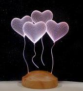 3d Led Lamba 3 Boyutlu 4 Kalp Klasik Özel Hediye G...