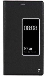 Huawei P9 Kılıf Kapaklı Pencereli Gizli Mıknatıslı Dolce Siyah