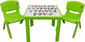 çocuk Masa Sandalye Takımı Yeşil Alfabe 2s