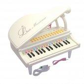 Pilli Sesli Işıklı Ortaboy Piyano Beyaz