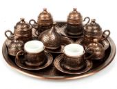 Osmanlı Motifli 6 Kişilik Türk Kahve Seti (3 Renk)