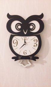 Baykuş Sallanır Sarkaçlı Duvar Saati