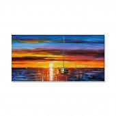 Yağlı Boya Görünümlü Günbatımı Tekne Kanvas Tablosu 40 Cm X 80 Cm