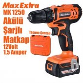 Max Extra Mx1250 Akülü Şarjlı Vidalama Matkap 12v 1.5ah Çift Akü