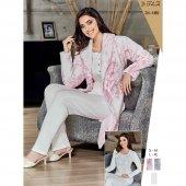 Flz 31 185 Hamile Lohusa Polar Sabahlıklı 3lü Pijama Takımı