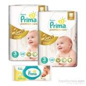Prima Bebek Bezi Premium Care Jumbo 2 Li Paket 3 Beden 136 Adet
