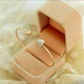 Kalpli Taşlı Bilezik Gold Ve Silver Minimal Kalp Şık