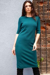Kadın Yarım Kol Triko Elbise Petrol Lb010