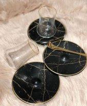 Siyah Mermer Desen Çay Takımı