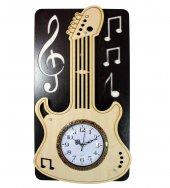 3d Ahşap Dekoratif Gitar Desenli Duvar Saati 51x29...