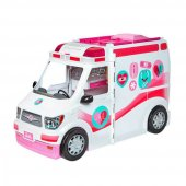 Barbienin Pembe Beyaz Şık Çıkartmalı Ambulansı Frm19