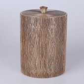 Selim Wooden Polyester Çöp Kovas Altın