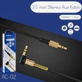 Sunix Altın Uçlu Araç İçi Stereo Aux 1mt 3.5m Kaliteli Teyp Kablo