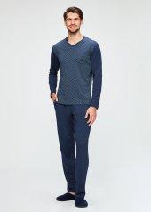 Dagi Erkek Modal V Yaka Mint Desenli Uzun Pijama Takımı Lacivert E0218k0008lc