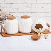 Bambu Stantlı Porselen 3&#039 Lü Baharatlık