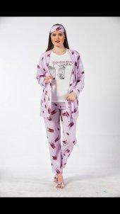 Mojito Desenli Sabahlıklı Pijama Takımı
