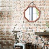 Halat Askılı Sekizgen Ahşap Dekoratif Ayna