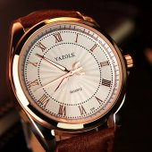Yazole Erkek Kol Saat Kahverengi Deri Lüks Tasarım Orjinal Saat