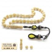 1000 Ayar Gümüş Kazaz Püsküllü Küre Kesim Sarı Damla Kehribar Tesbih