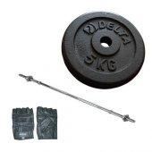Delta 27kg 5kg X4döküm Plaka 152cm Bar Eldiveni Seti Fzd70