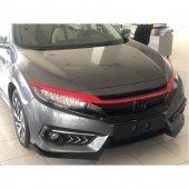 Honda Civic Fc5 Ön Panjur Üst Kaşı Kaplaması Kırmı...