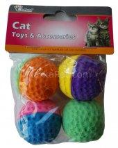 Eastland İki Renkli Kedi Oyuncak Sünger Top 4 Lü