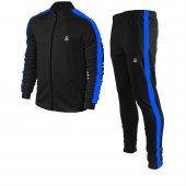 Erkek Siyah Sporcu Eşofman Takım Mavi Şerit