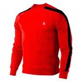 Erkek Kırmızı Sweatshirt Siyah Şerit