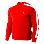 Erkek Kırmızı Sweatshirt Beyaz Şerit
