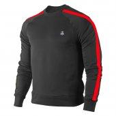 Erkek Siyah Sweatshirt Kırmızı Şerit