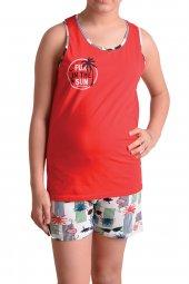 Kız Çocuk Şortlu Pijama Takımı Geniş Askılı Garson Pamuk