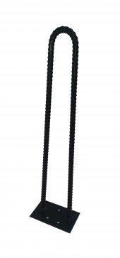 Retro U Tarz Nervurlu Demirden Rustik Firkete Masa Ve Sehpa Ayak Siyah 60 Cm