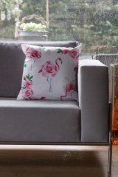 Dekoratif Flamingo Baskılı Yastık, İçi Elyaf Dolgu...