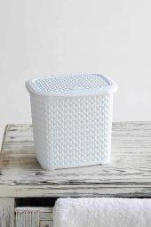 örgü Desenli Beyaz Rengi Plastik Deterjan Kutusu 4...