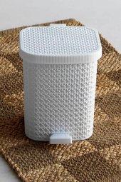 örgü Desenli Beyaz Rengi Plastik Pedallı Çöp Kovas...