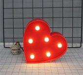 Dekoratif Kırmızı Kalp Şeklinde Plastik Led Işıklı Lamba