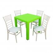 Mandella Elit 80x80 4 Adet Silver Tifany Sandalye Masa Takımı Yeşil