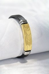 çelik Boost Figürlü Deri Kordon Altın Renk Figür Bileklik