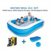 Bestway Jumbo Boy Deluxe Dikdörtgen Şişme Aile Havuz Seti, Pompa + Örtü (305x183x56 Cm) 54009