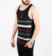 Deepsea Siyah Renkli Çizgi Baskılı Erkek Atlet 1701967