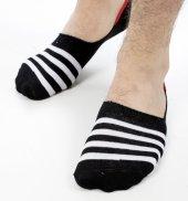 Deepsea Siyah Beyaz Çizgili Erkek Babet Çorap 1906761