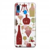 Samsung Galaxy A30 Kılıf Silikon Arka Koruma Kapak Wine Desenli