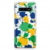 Samsung Galaxy S10 Kılıf Silikon Arka Koruma Kapak Sarı Yeşil Ma