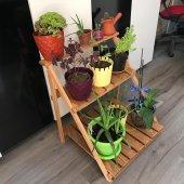 Iris Ahşap Çiçeklik El Yapımı Masif Raf Stand...