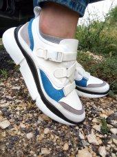 Beyaz Bayan Kadın Spor Ayakkabı Bağcıklı Yazlık Yüksek Kal Taban