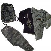 Erkek Bebek Çantalı Asimetrik Kesim Haki Siyah 2 3 Yaş Takım C71829