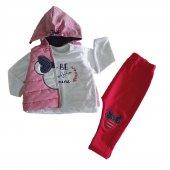 Kız Bebek Şişme Yelek Kapşonlu 6 18 Ay 3lü Takım Kırmızı C71918