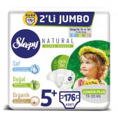 Sleepy Natural Bebek Bezi 5+ Beden Junior Plus 4x2li Jumbo 176 Adet