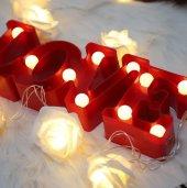 Dekoratif Kırmızı Love Yazılı Pilli Led Aydınlatma Romantik Led