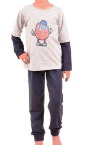 Erkek Çocuk Pijama Takımı Uzun Kollu Diyagonal Garson